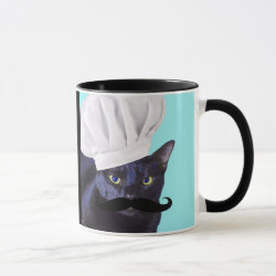 Combo Mug with Italian Chef Cat with Mustache design