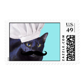 Italian Chef, Black Cat Postage Stamps