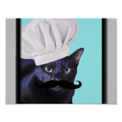 Italian Chef Cat with Mustache Matte Poster