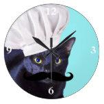 Italian Chef, Black Cat Round Wallclock