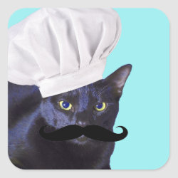Italian Chef Cat with Mustache Square Sticker