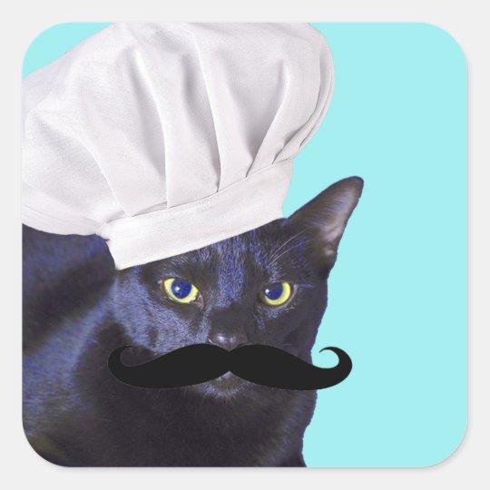 Italian Chef, Black Cat Square Sticker