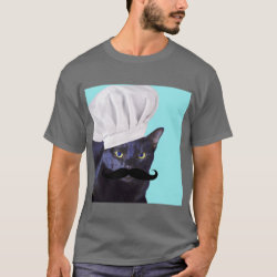 Men's Basic Dark T-Shirt with Italian Chef Cat with Mustache design