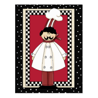Italian Chef cartoon greeting postcard