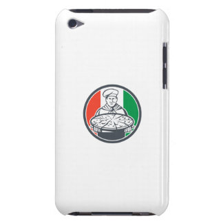Italian Chef Cook Serving Pizza Circle Retro Barely There iPod Cover