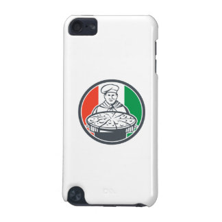 Italian Chef Cook Serving Pizza Circle Retro iPod Touch (5th Generation) Cover