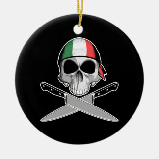 Italian Chef Double-Sided Ceramic Round Christmas Ornament