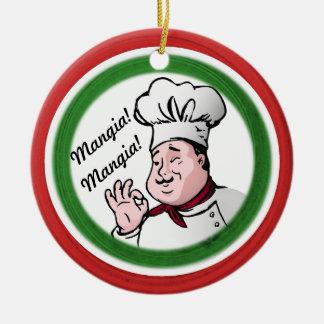 Italian Chef: Mangia Mangia Ceramic Ornament