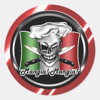 Italian Chef Skull Round Sticker