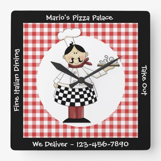 Italian Chef Square Wall Clock