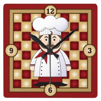Italian Chef Square Wall Clock