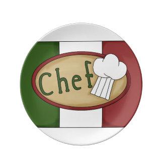 Italian Chef Word Art Porcelain Plate