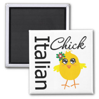 Italian Chick 2 Inch Square Magnet