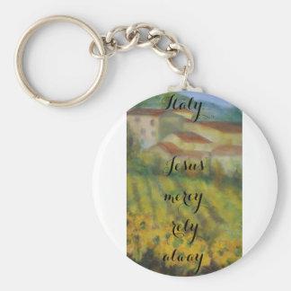 Italian/christian country side keychain/ art keychain