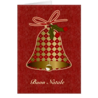 Italian Christmas Card with bell and holly