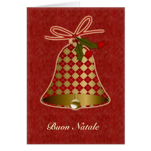Italian Christmas Card with bell and holly Sales 292