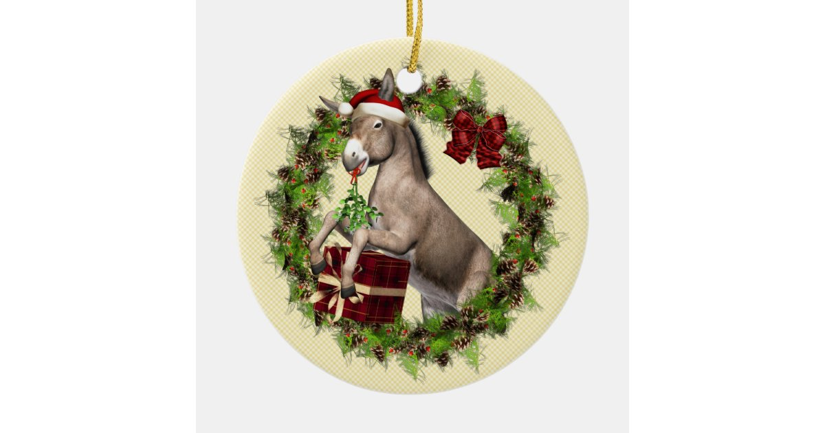 Buon Natale Ornament.Italian Christmas Donkey Buon Natale Ornament Zazzle Com