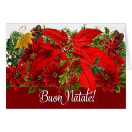 Italian Christmas Poinsettias Buon Natale! Card
