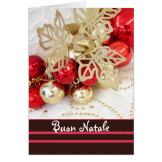 Italian Christmas - red and gold baubles Cards
