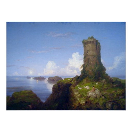 Italian Coast Scene with Ruined Tower -Thomas Cole Posters
