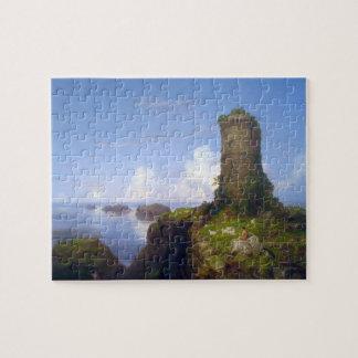Italian Coast Scene with Ruined Tower -Thomas Cole Jigsaw Puzzle
