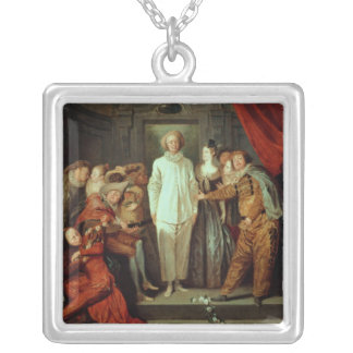 Italian Comedians, c.1720 Silver Plated Necklace