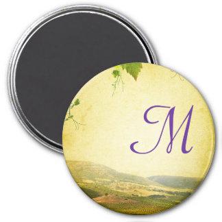 Italian Countryside Winery Monogram Initial Magnet