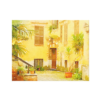 """Italian Courtyard"" Watercolored Photo on Canvas"