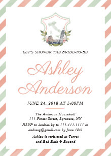 italian crest bridal shower invitation