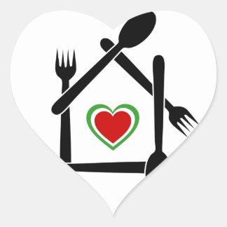 Italian cuisine- Colors of the Italian flag Heart Sticker