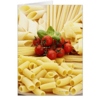 Italian cuisine. Pasta and tomatoes. Card
