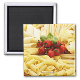 Italian cuisine. Pasta and tomatoes. Magnet