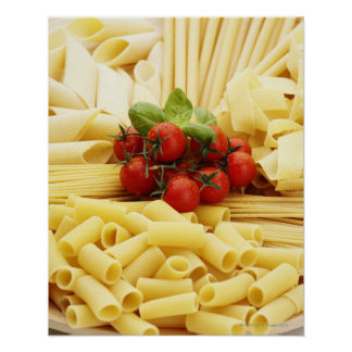 Italian cuisine. Pasta and tomatoes. Poster
