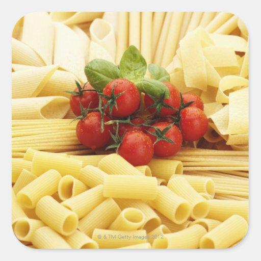 Italian Cuisine Pasta And Tomatoes Square Sticker Zazzle
