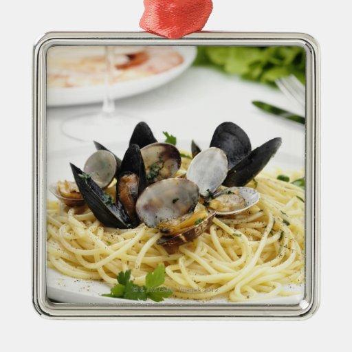 Italian cuisine. Spaghetti alle vongole. Christmas Ornaments