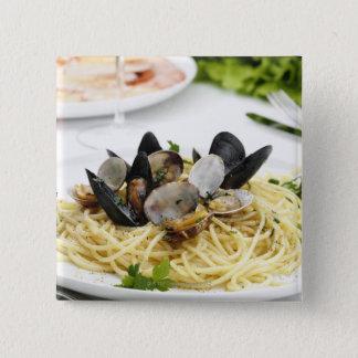 Italian cuisine. Spaghetti alle vongole. Pinback Button