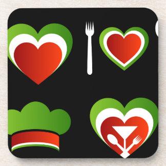 Italian cuisine symbols beverage coaster