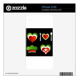 Italian cuisine symbols skins for iPhone 4