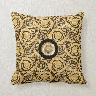 Italian design Medusa, roccoco baroque, black gold Throw Pillows