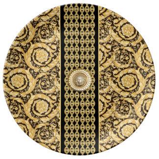 Italian design Medusa, roccoco baroque, black gold Porcelain Plates