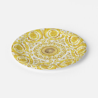 Italian design Medusa, roccoco baroque, white gold 7 Inch Paper Plate