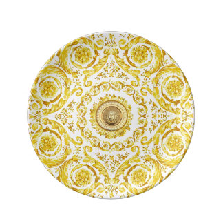 Italian design Medusa, roccoco baroque, white gold Porcelain Plates