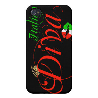 Italian Diva Black Background iPhone 4/4S Cases