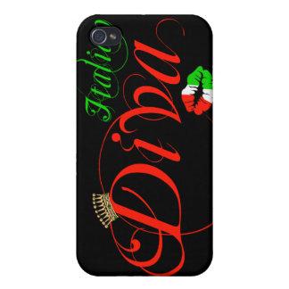 Italian Diva Black Background iPhone 4 Covers
