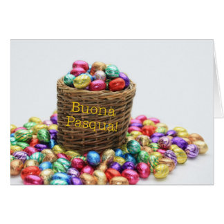 Italian easter greeting basket with eggs greeting card