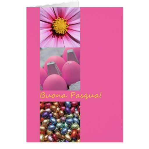 Italian Easter Greeting Pink Collage Greeting Card