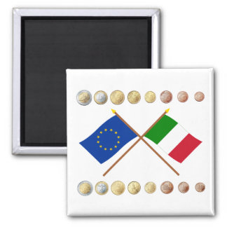 Italian Euros and EU & Italy Flags Magnet