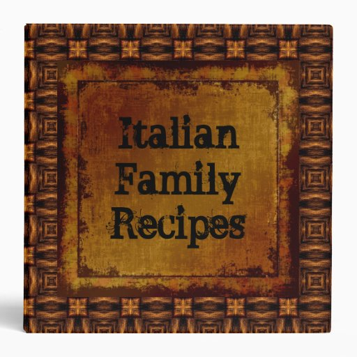 Italian Family Recipes Leather Look Binder