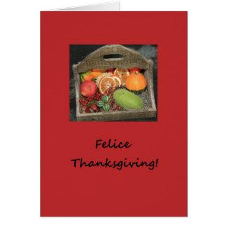 italian felice thanksgiving autumn fruits greeting card
