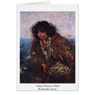 Italian Fishermen Child By Romako Anton Greeting Card